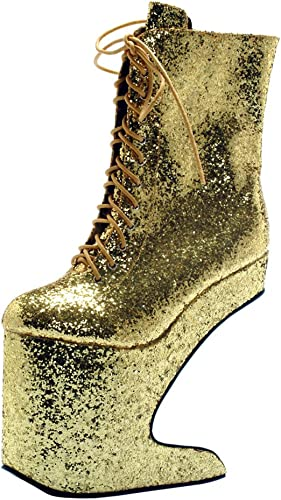 Ellie Womens Heel Less Heels Glitter Boots 5 12 Inch Wedge Platforms Lace Up Booties