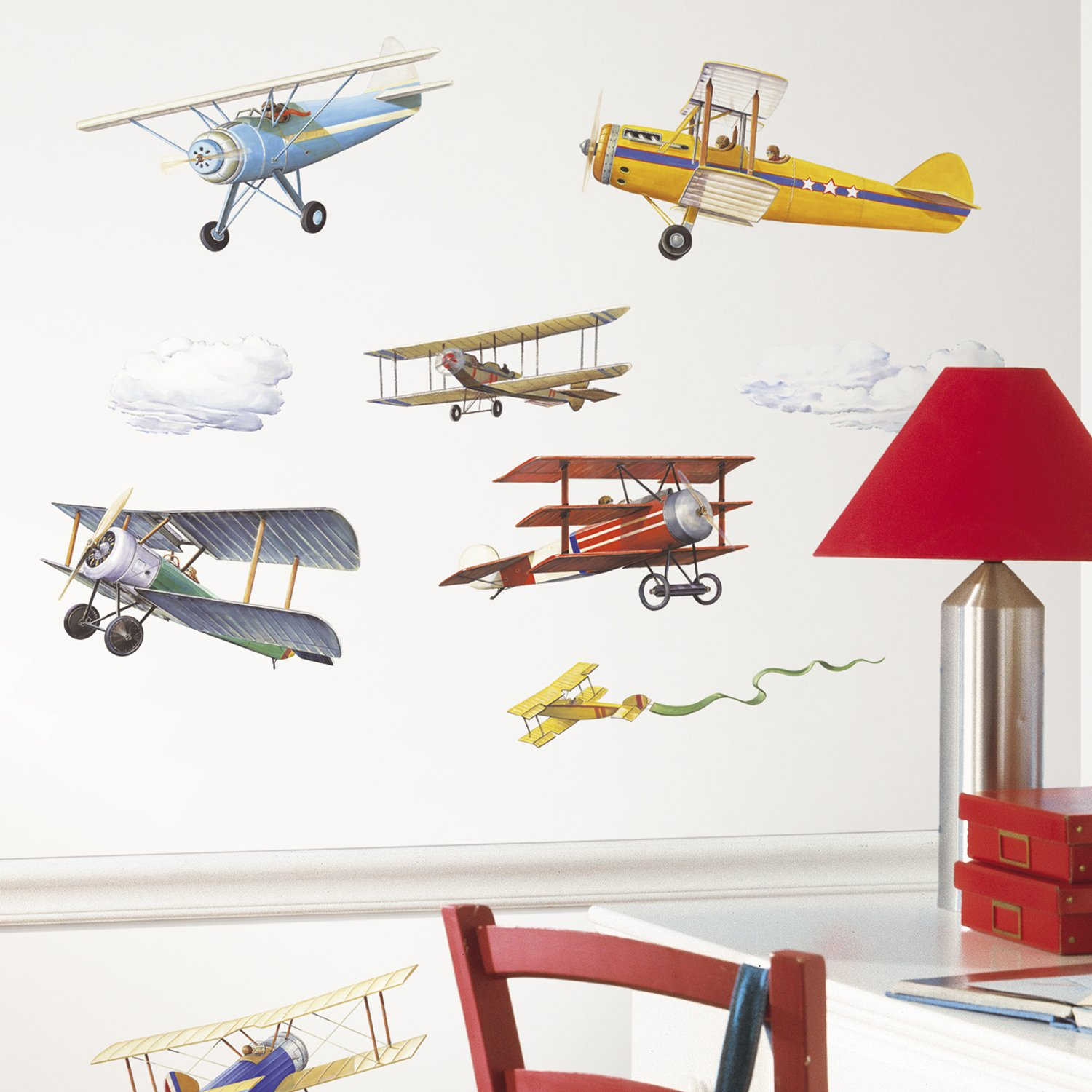Roommates rmk1197scs vintage planes peel stick wall decals 22 roommates rmk1197scs vintage planes peel stick wall decals 22 count wall decor stickers amazon amipublicfo Image collections