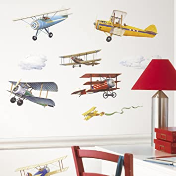 RoomMates RMK1197SCS Vintage Planes Peel U0026 Stick Wall Decals, 22 Count