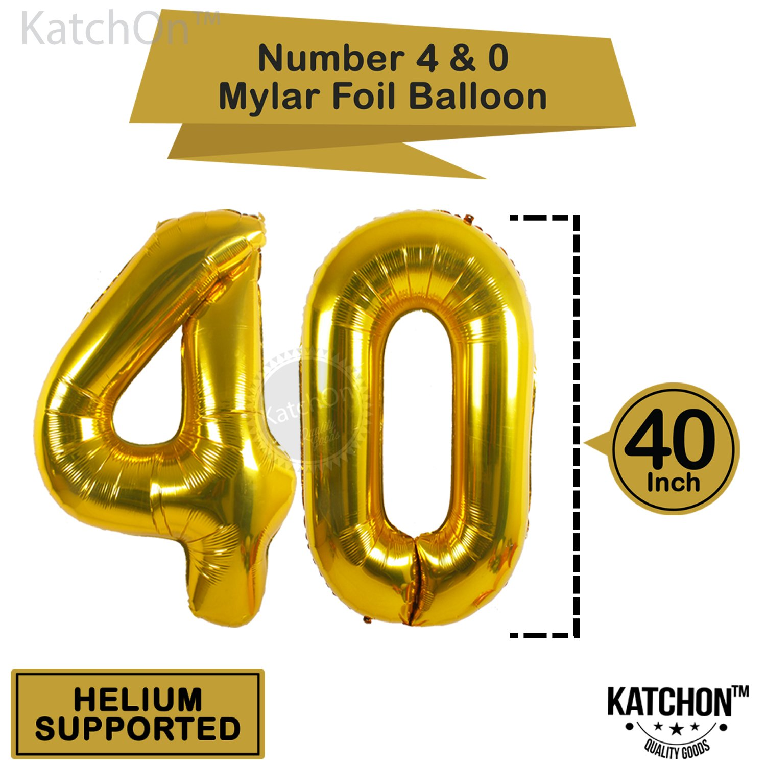 KATCHON 1 11 Decorations Happy Birthday Banner, 40th Balloons,Gold and Black, Number Perfect 40 Years Old Par, M by KATCHON (Image #4)