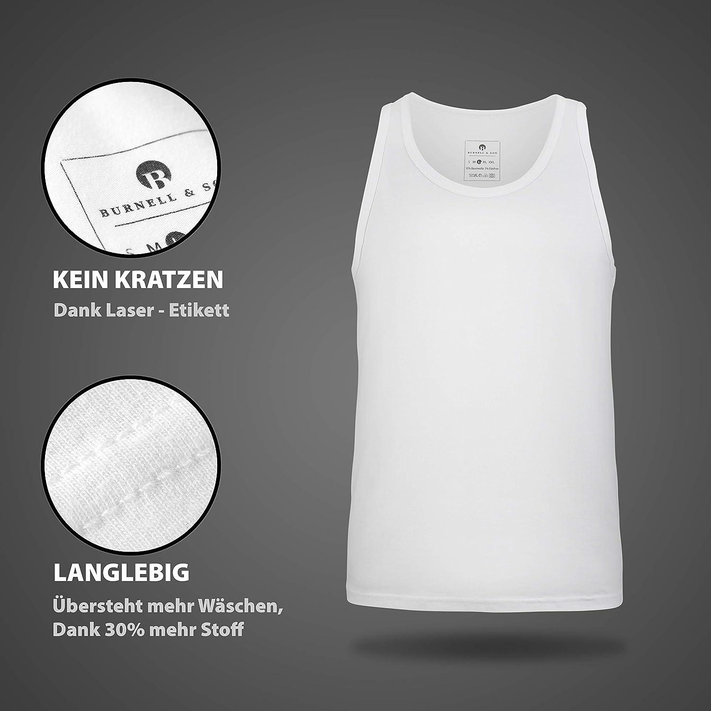 XXXL Burnell /& Son Business Unterhemd Herren wei/ß grau schwarz blau Tank Top 4er Pack atmungsaktive Premium Baumwolle S