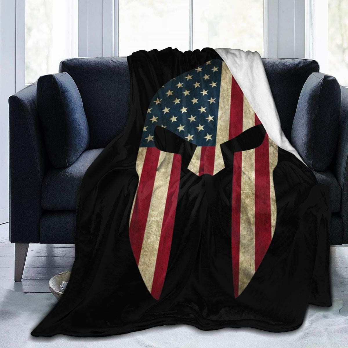 NOT American Spartan Warrior Helmet Ultra-Soft Blanket Winter Bed Sofa Home Office Quilt