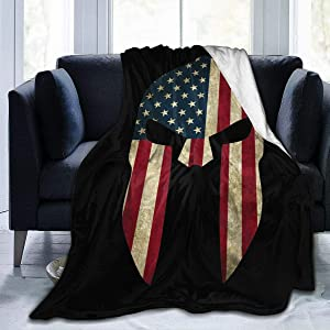 NOT American Spartan Warrior Helmet Ultra-Soft Blanket Winter Bed Sofa Home Office Quilt