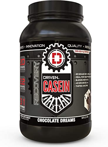 Driven Casein- 100 Micellar Casein Protein Powder with Added BCAA and Digestive Enzymes for Nighttime Muscle Recovery