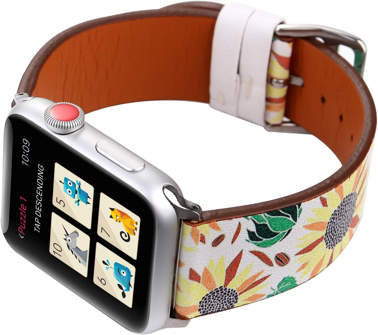 Amazon Com Wonmille Bands For Apple Watch 38mm Sequins Floral Printed Leather Replacement Strap Wrist Watch Band For Apple Watch Iwatch Series 1 Series 2 Series 3 Sunflower 38mm