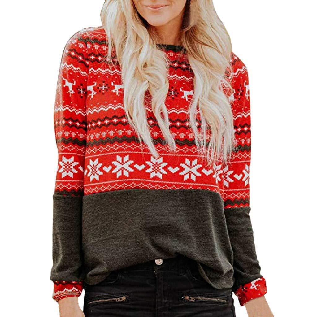 Womens Xmas Oberteile LSAltd Damen Weihnachten Schneeflocke Elch Print Pullover Langarmshirts Casual Rundhals Sweatshirt Weihnachten Splice Tunika Bluse Grö ß e S-2XL