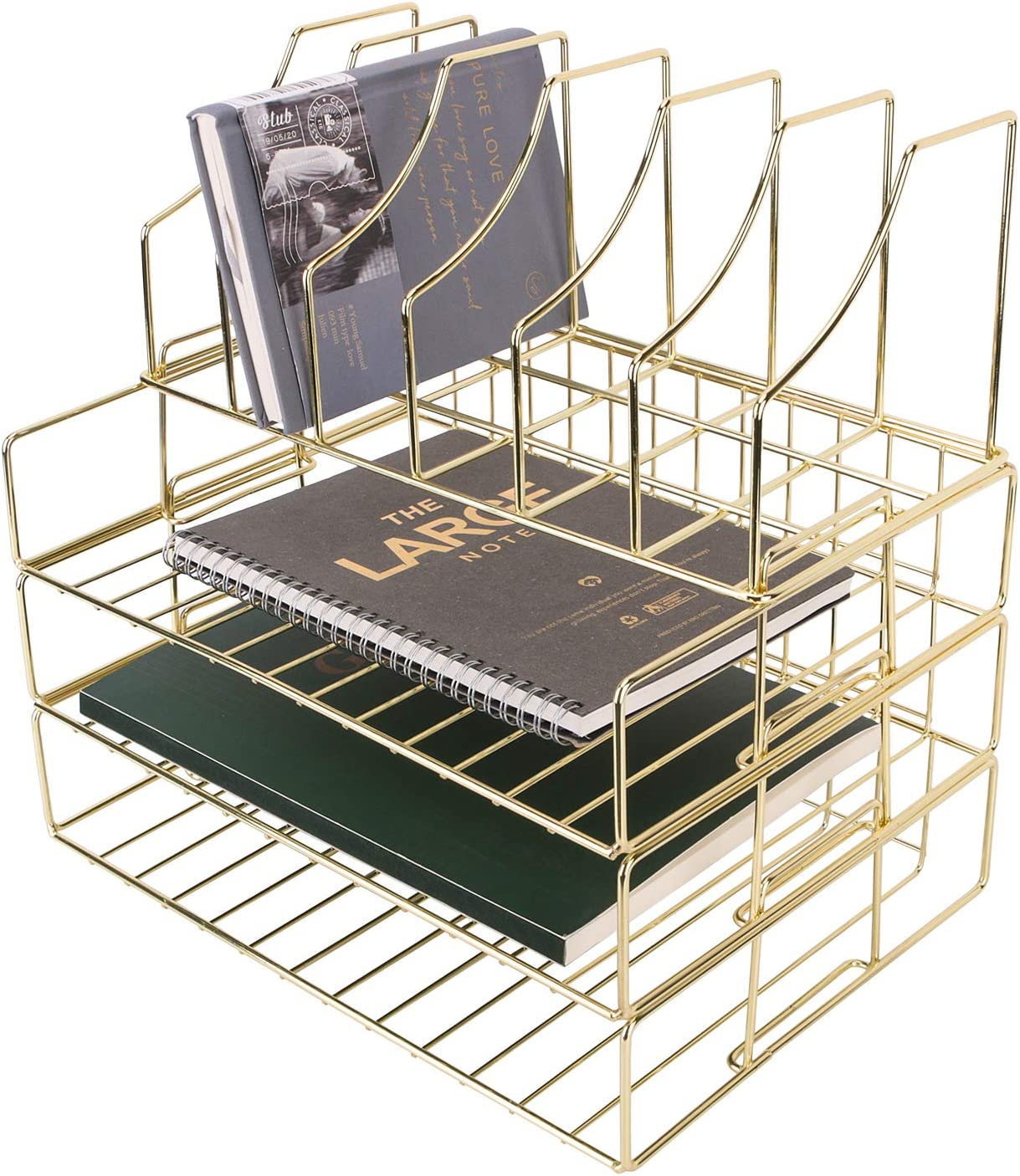 Hosaken Paper Tray, 3-Tier Stackable File Trays Plus Magazine Holder, Wire Desk Organizer Document Sorter Shelf for Home and Office Supplies, Gold