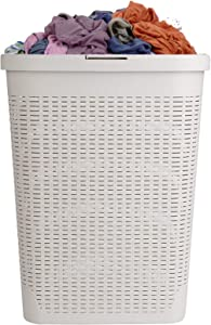 Mind Reader 40HAMP-IVO Slim Basket, Laundry Cutout Handles, Washing Bin, Dirty Clothes Storage, Bathroom, Bedroom, Closet, Ivory 40 Liter Hamper