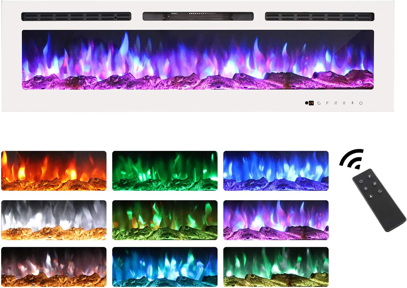 Homevibes 60 Inched Recesses Electric Fireplace Insert /& Wall Mounted Electric Fireplace Heater Faux Fireplace Remote Control /& Touch Screen 750W//1500W Low Noise