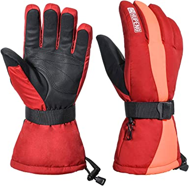 Thermal Insulation Waterproof /& Windproof Winter Snowboard Gloves With Wrist Leashes HUPENG Mens Ski Gloves Nylon Shell