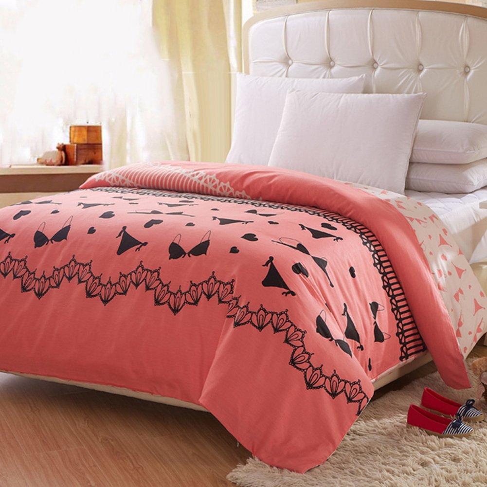 LJ&XJ Reversible elegant duvet cover,Comfy cotton quilt cover single single double queen&king durable college dormitory fade-resistant-L 160x210cm(63x83inch)