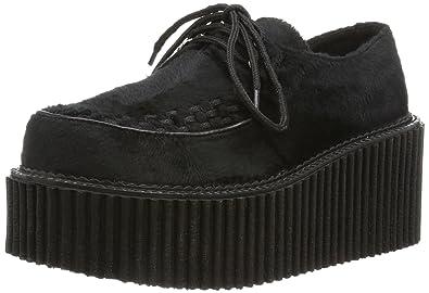 Demonia CREEPER-202, chaussures basses à lacets femme, Noir (schwarz), 39