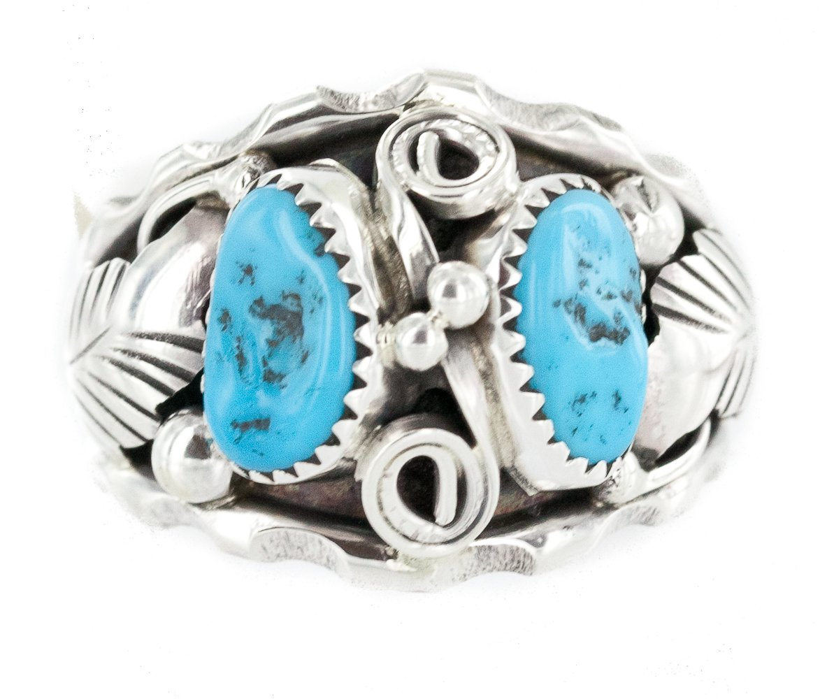 Native American Jewelry Turquoise Ring Handmade Sterling Silver .925