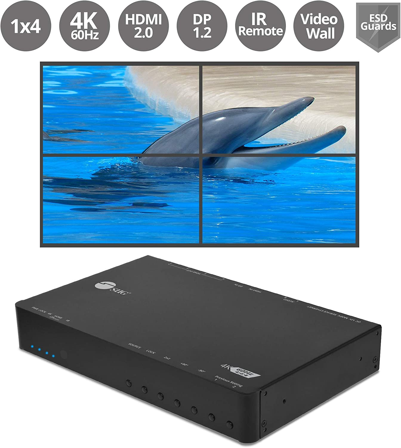 SIIG 4K HDMI 2x2 Video Wall Controller & Processor – Up to 4K/60Hz YUV 4:4:4, 1x HDMI or Mini DisplayPort 1.2 Input- with Bezel Correction, Cascading, Supports 1x1, 2x2, 1x3,1x4 (CE-H23J11-S1)