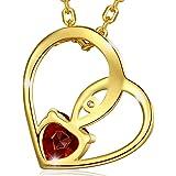 """MARENJA argent-collier crystal-christmas gift-women Collier Plaqué or avec pendentif cœur en cristal gravé «I love you """""""