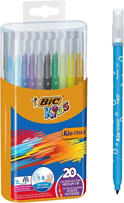 BIC Kids Kid Couleur - Pack de 20 rotuladores de colorear para ...