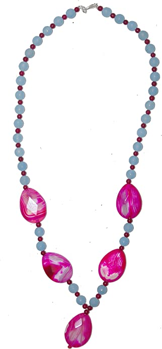 Milky Pink Agate Pendant Beaded Long Necklace