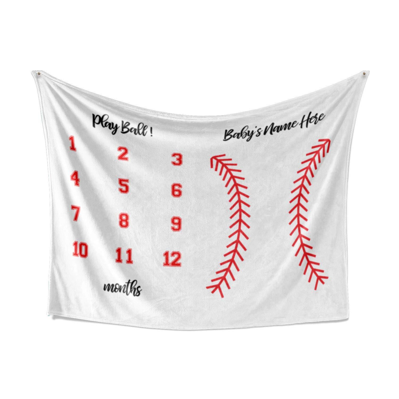 野球テーマ 月 マイルストーン ベビーブランケット - 月 60