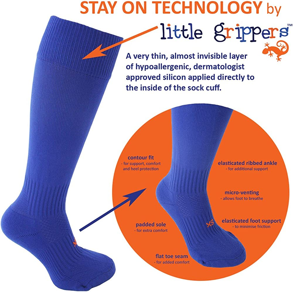 STAY UP Kid/'s Sports Socks 2 Pairs with Stay On Technology Black Twin Pack