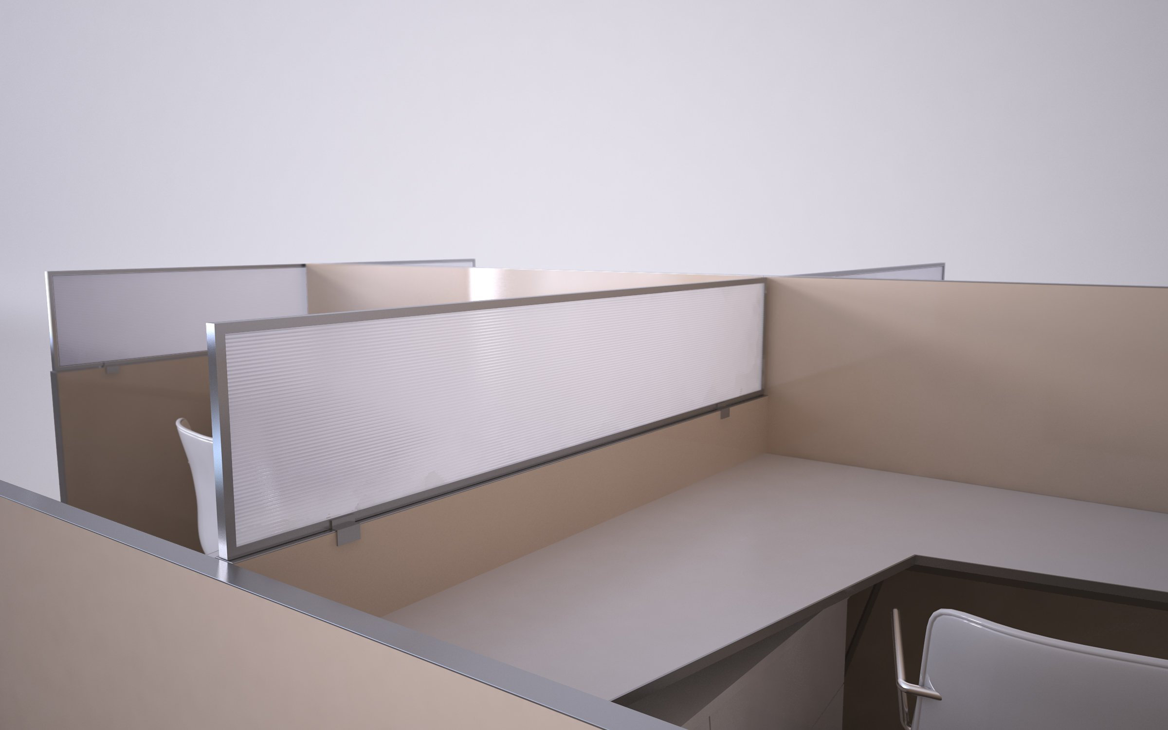 12'' Polycarbonate Cubicle Mounted Privacy Panel with Small Brackets, 12'' X 24'', White/Aluminum by OBEX