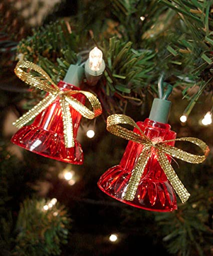 set of 30 red musical bell christmas lights with 7 functions es62 937