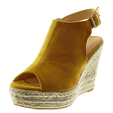 f1968aca4a9e98 Angkorly - Chaussure Mode Mule Sandale Plateforme Peep-Toe lanière Cheville  Femme Corde tréssé Talon