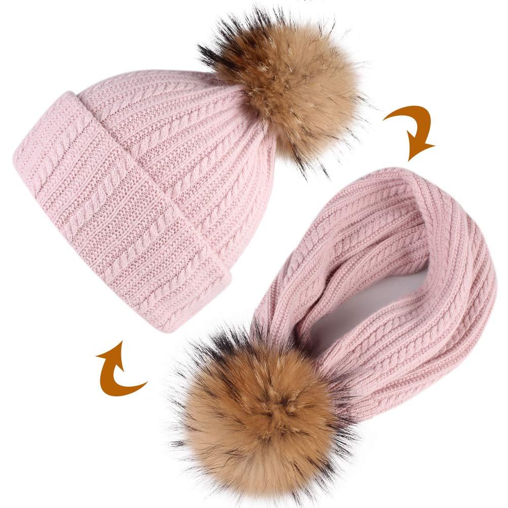 59f111f16 FURTALK Womens Winter Pom Beanie Hat - Girls Warm Knit Wool Beanie ...