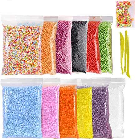 Foam Balls Slime Making Kit,Simuer 12 Pack Colorful Styrofoam Foam ...