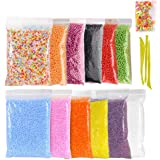 SIMUER Styropor Schaum Bälle Foam Balls Slime Making Set, 12 Pack Colorful Styrofoam Foam Beads für Slime with Tools and Fruit Slice for Slime Making Art DIY Craft Decorative Slime Beads