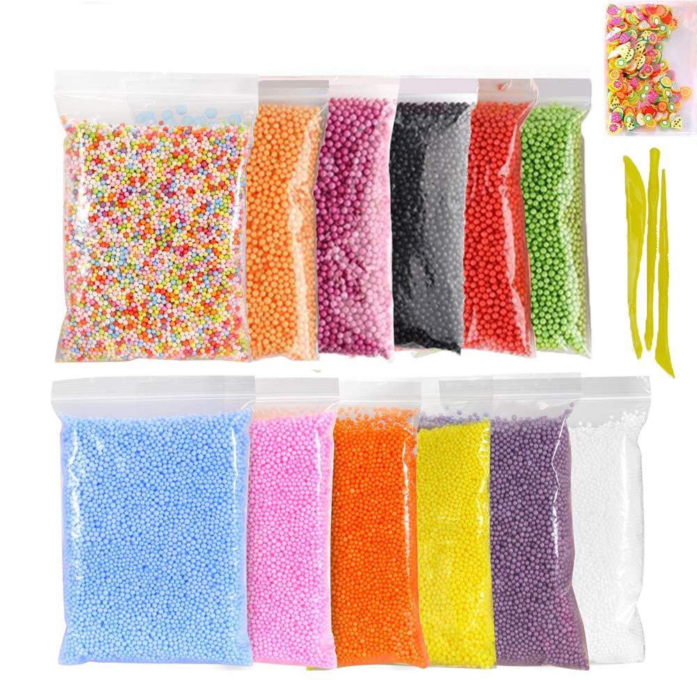 Foam Balls Slime Making Kit,Simuer 12 Pack Colorful Styrofoam Foam Beads for Slime 0.09-0.14'' with Tools, Fruit Slice Art DIY Craft Decorative Slime Beads 12 Colors