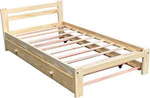 Twin Trundle Bed Wooden Bed Solid Pine Wood with Slats Support Unfinished Single Wooden Bed Frame Suitable for Bedroom and Wheeled Trundle Bed