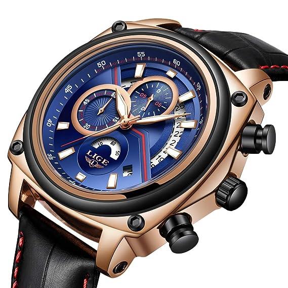 LIGE Relojes Hombre Moda Cuarzo Deporte Militares de Cuero Cronógrafo Impermeable: Amazon.es: Relojes