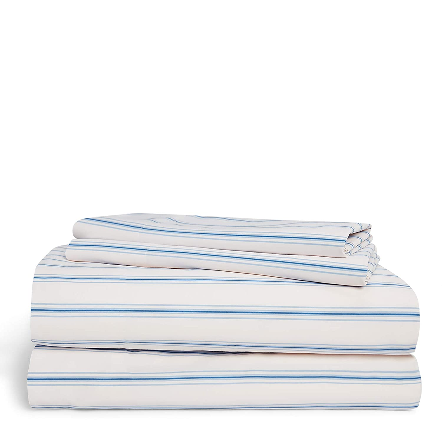Chaps Home Shrewsbury Stripe 60% Cotton/40% Poly Printed Sheets-200 Thread Count Bed Sheet Set-15 Inches Deep Pocket (King), King, Blue and Cream