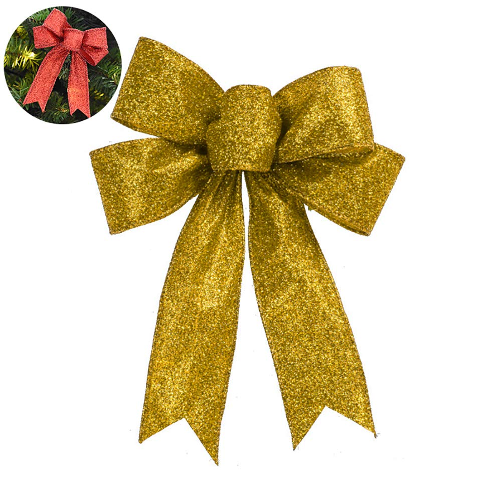 YaptheS Christmas Bows Glitter Bowknot Xmas Decoration Ribbon Bow Indoor Outdoor Decoration for Garland Tree Topper Bow 5.1'' Inches - Gold Christmas Style