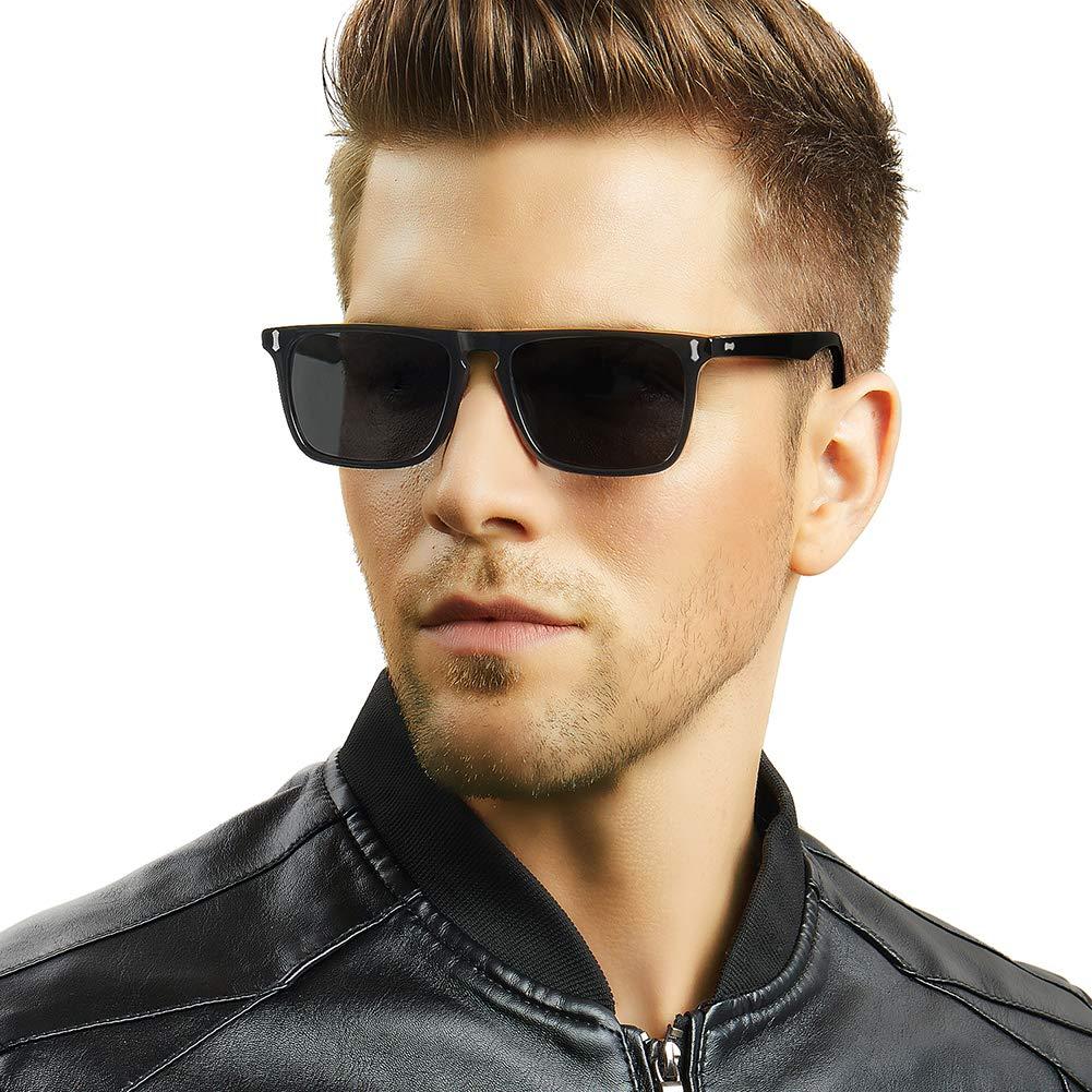 25863fb4b5f7 Carfia Polarised Sunglasses for Men UV400 Protection Driving Glasses (Black  Frame Grey Lens): Amazon.co.uk: Clothing