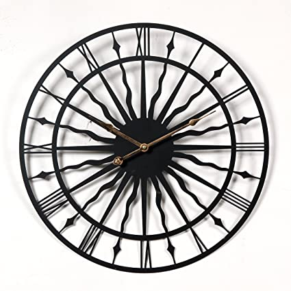 Amazon.com: mingcheng Vintage Retro Round Wall Clock 20-inch Large Iron Metal Indoor Wall Clock(Wavy Iron) - Black: Home & Kitchen