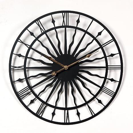 Lommer 50CM Grande Metal Reloj Pared Silencioso Vintage Reloj de Pared para Cocina, Salón,