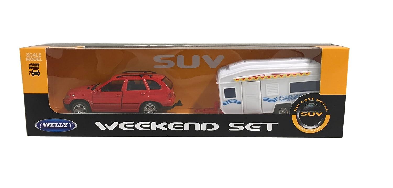V/éhicule Miniature Set Week-End 0301077 Welly Echelle 1//34 Mod/èle /À L/échelle