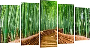 Creative Art Bamboo Path Canvas Prints Contemporary Art Modern Wall Decor 5 Panel Wood Mounted Giclee Canvas Art Framed Artwork for Living Room/Office, Decoration Ready to Hang