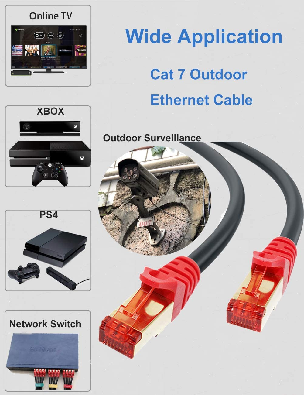 Cat 7 Outdoor Ethernet Cable 50 ft SNANSHI Cat 7 Outdoor Network Cable SFTP Gigabit 10//100//1000Mbit//s with Gold Plated Lead Waterproof Ethernet Cable Direct Burial Ethernet Cable 50 ft