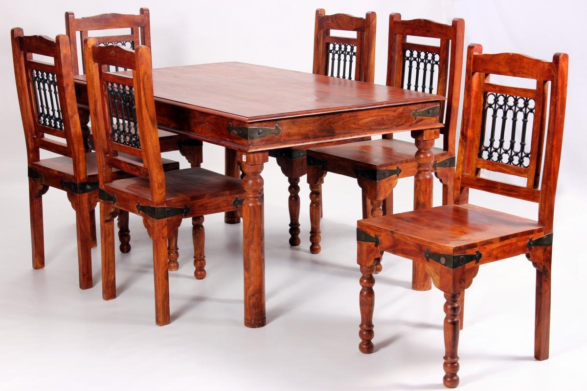 Jaipur deco dining set 1086 6 chairs dining room table chair set 6 chairs1500w x 900d solid acacia rustic antique dining room furniture