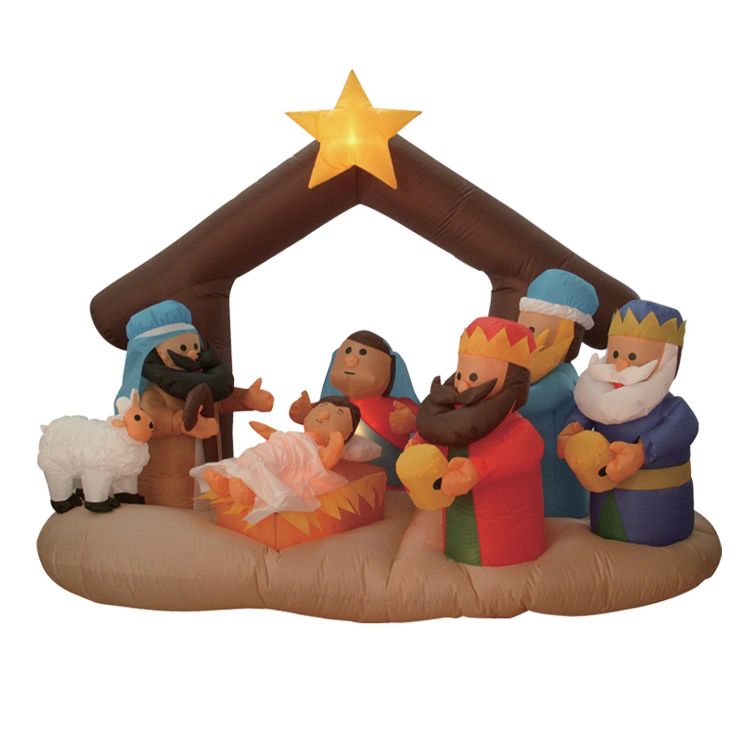 amazoncom 6 foot christmas inflatable nativity scene with three kings party decoration home kitchen - Outdoor Christmas Decorations Nativity Scene