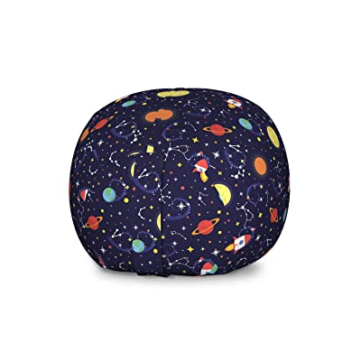 Ambesonne Spaceship Storage Toy Bag Chair, Cosmic Themed Pattern of Flying Spacecraft in Outer Space Stars Planets, Stuffed Animal Organizer Washable Bag for Kids, Large Size, Indigo Multicolor: Kitchen & Dining