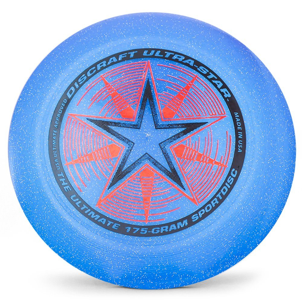 Discraft Ultra-Star 175g Ultimate Disc + Free Mini Frisbee + Ultimate Disc Sticker (USA Ultimate Approved) - Blue Sparkle by Disc Store