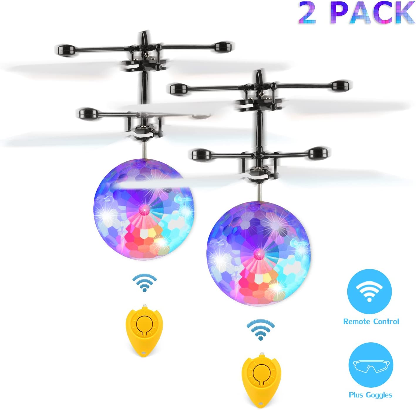 Fansteck 2 Pack Bola voladora, Mini Drone para Niños, RC Flying Juguetes, Aviones Helicóptero Radiocontrol, Bola de Vuelo por inducción infrarroja con Gafas de protección, Regalos y Juguets niños