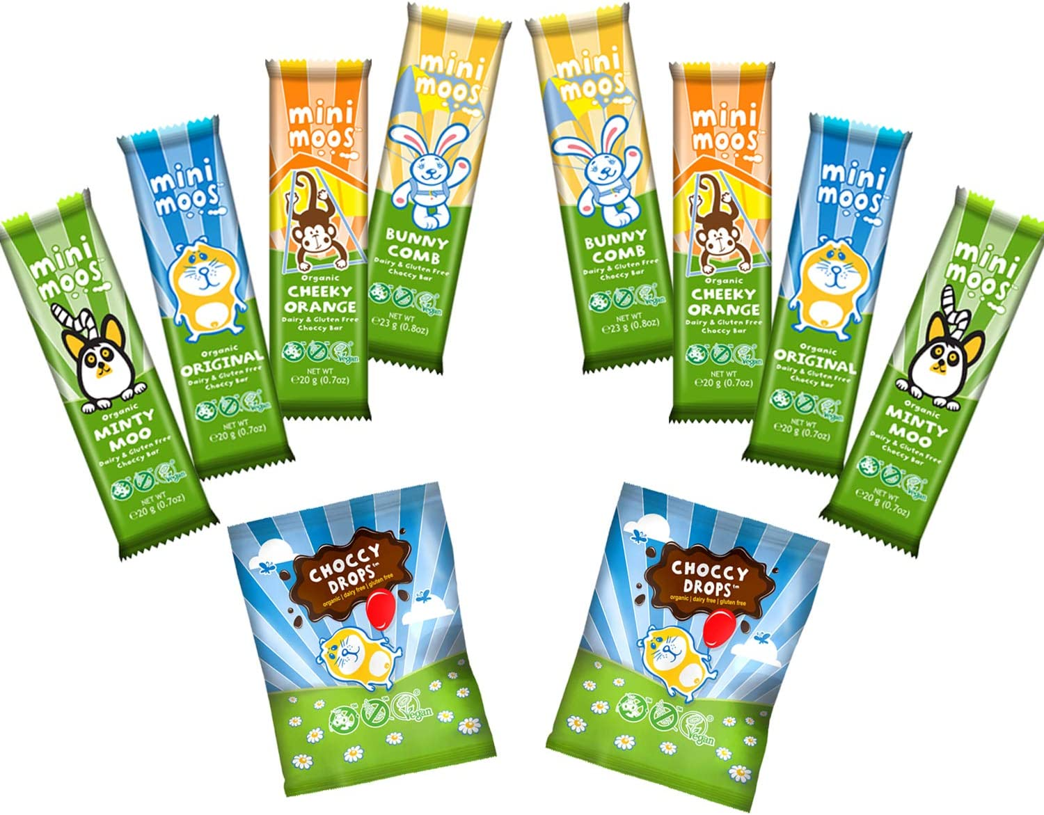 Moo Free Mini Moos Vegan Chocolate Mixed Pack-Mini Moos Choccy Drops-Dairy Free Organic Gluten Free-10 Vegan Choclates