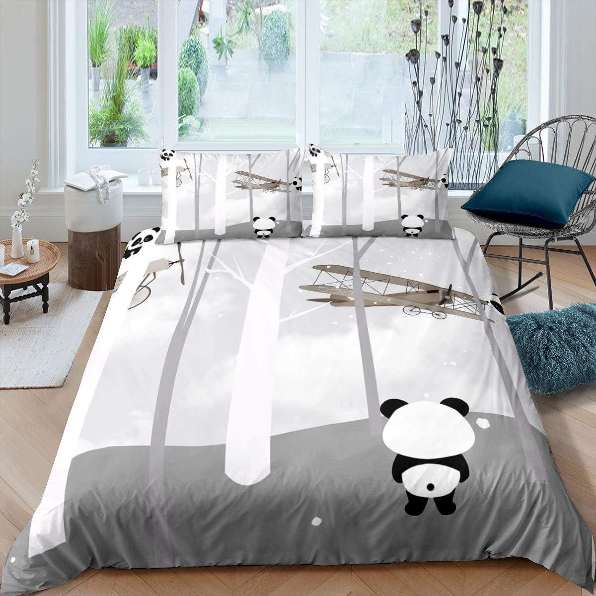 Lonely Panda Looking Aircrafts Duvet Sets Queen Cartoon Grey Panda Bear Bedding Cover Sets Grey Sky Trees 3 Pieces Comforter Sets(1 Duvet Cover 2 Pillow Cases)