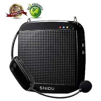 Amplificador de voz inalámbrico, SHIDU 2.4G 18W Sistema de PA portátil recargable Altavoz con