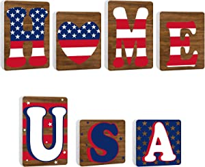 Yookeer 2 Sets Independence Day USA Home Wooden Letter Blocks Patriotic 4th of July Wooden American Flag Stars Blocks Desk Decorations Freestanding Wooden Tabletop Centerpieces for Memorial Day