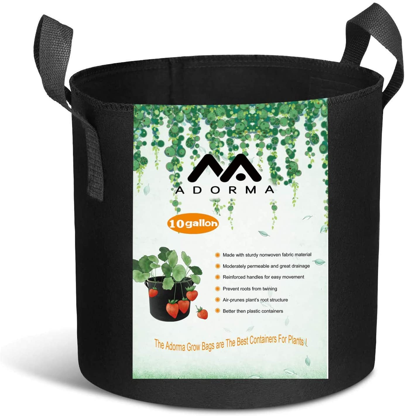 Adorma 10 Packs 10 Gallon Grow Bags, Heavy Duty 300G Thickened Nonwoven Fabric Plant Pots with Handle